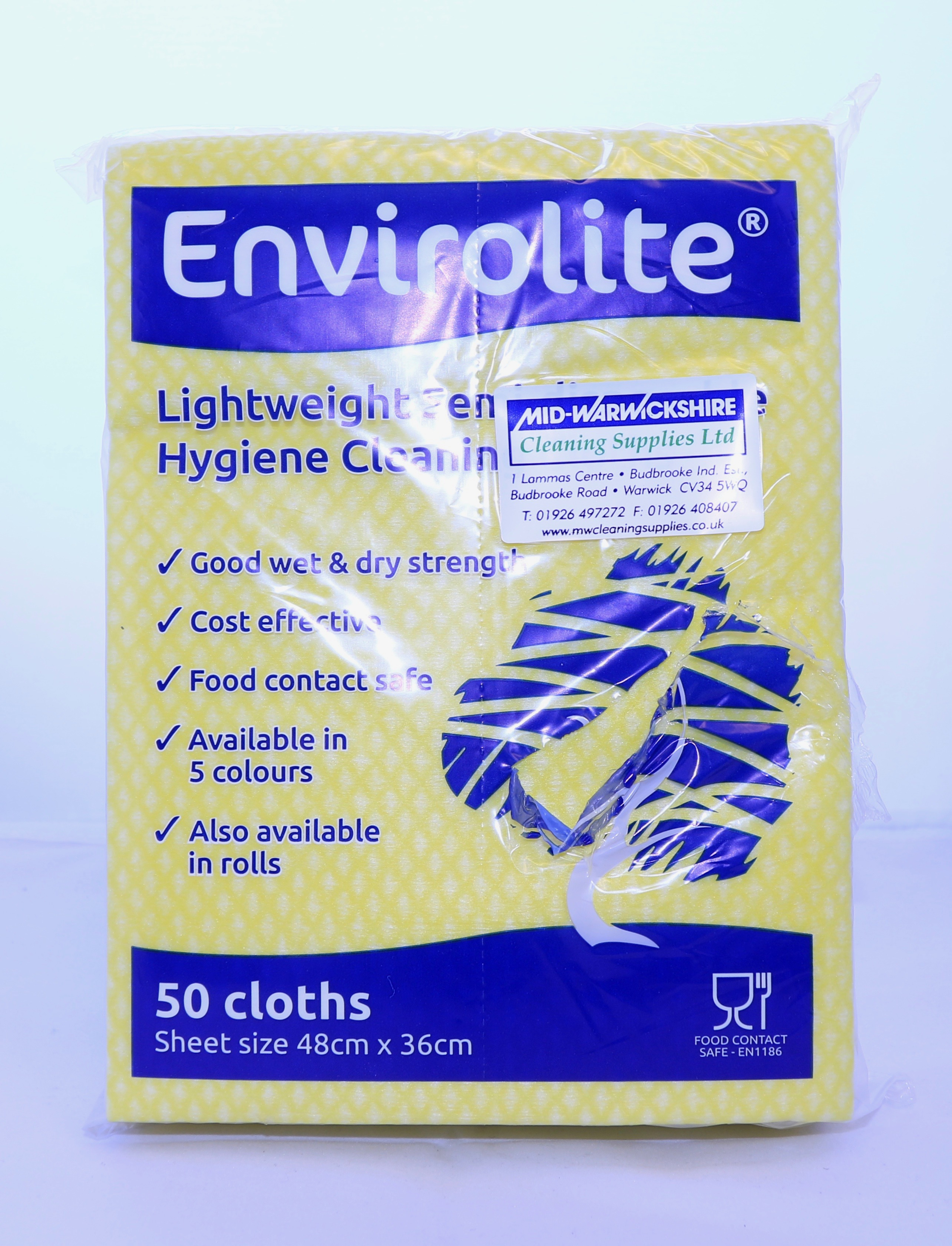 Lightweight Cleaning Cloths Yellow (48cm x 36cm) (10 x 50)